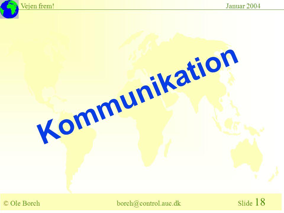 © Ole Borch borch@control.auc.dk Slide 18 Vejen frem!Januar 2004 Kommunikation