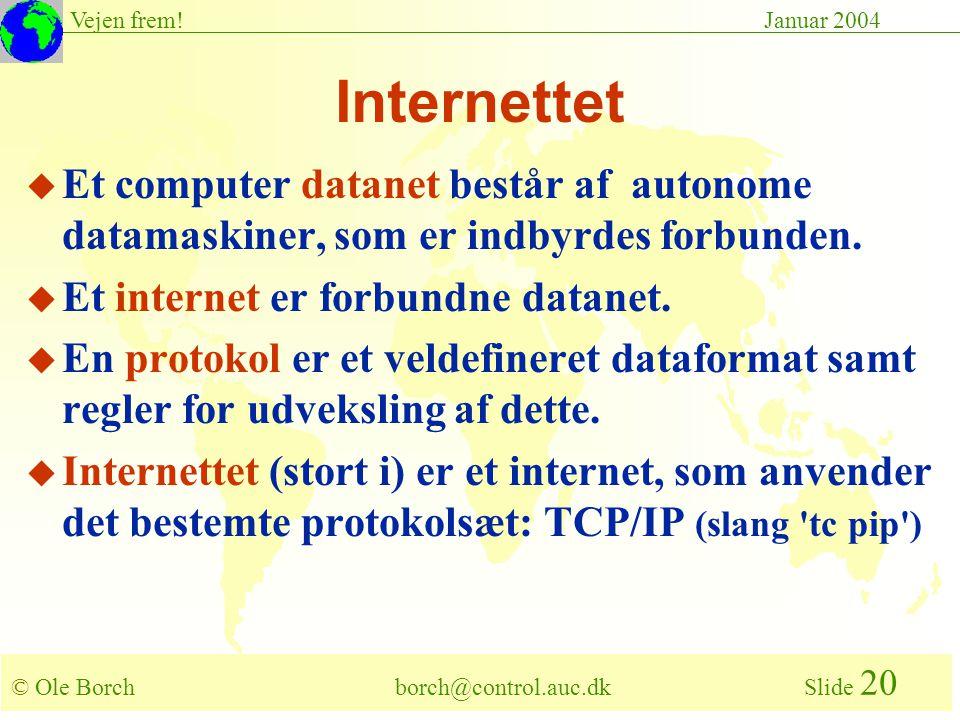 © Ole Borch borch@control.auc.dk Slide 20 Vejen frem!Januar 2004 Internettet u Et computer datanet består af autonome datamaskiner, som er indbyrdes forbunden.