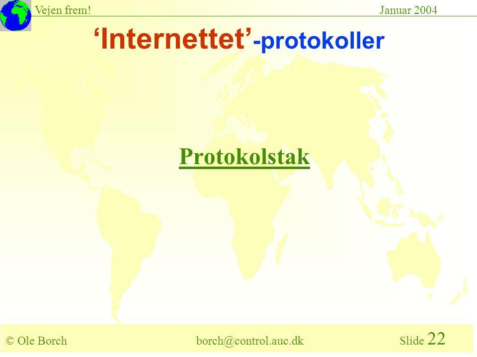 © Ole Borch borch@control.auc.dk Slide 22 Vejen frem!Januar 2004 'Internettet' -protokoller Protokolstak
