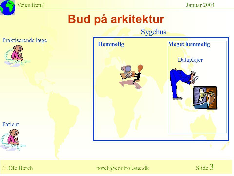 © Ole Borch borch@control.auc.dk Slide 3 Vejen frem!Januar 2004 Bud på arkitektur Praktiserende læge Dataplejer Hemmelig Patient Meget hemmelig Sygehus