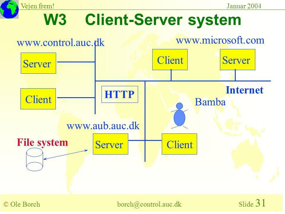 © Ole Borch borch@control.auc.dk Slide 31 Vejen frem!Januar 2004 W3 Client-Server system Server Client HTTP File system www.control.auc.dk www.aub.auc.dk www.microsoft.com Bamba Internet