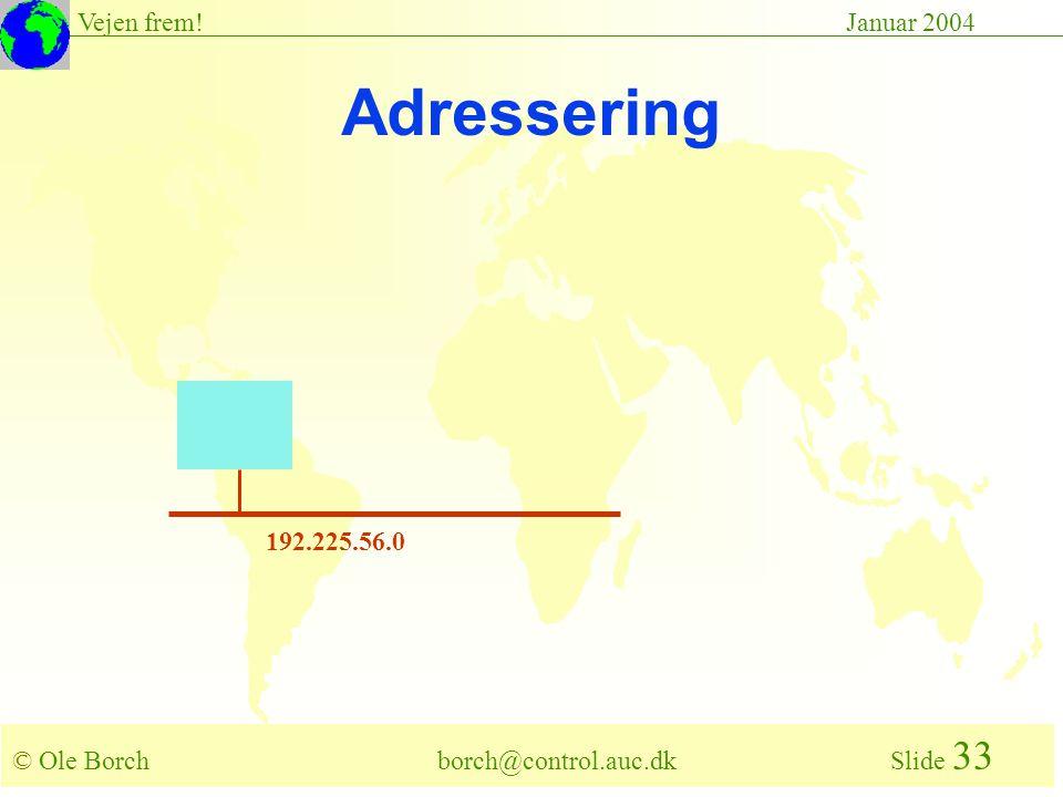 © Ole Borch borch@control.auc.dk Slide 33 Vejen frem!Januar 2004 192.225.56.0 Adressering
