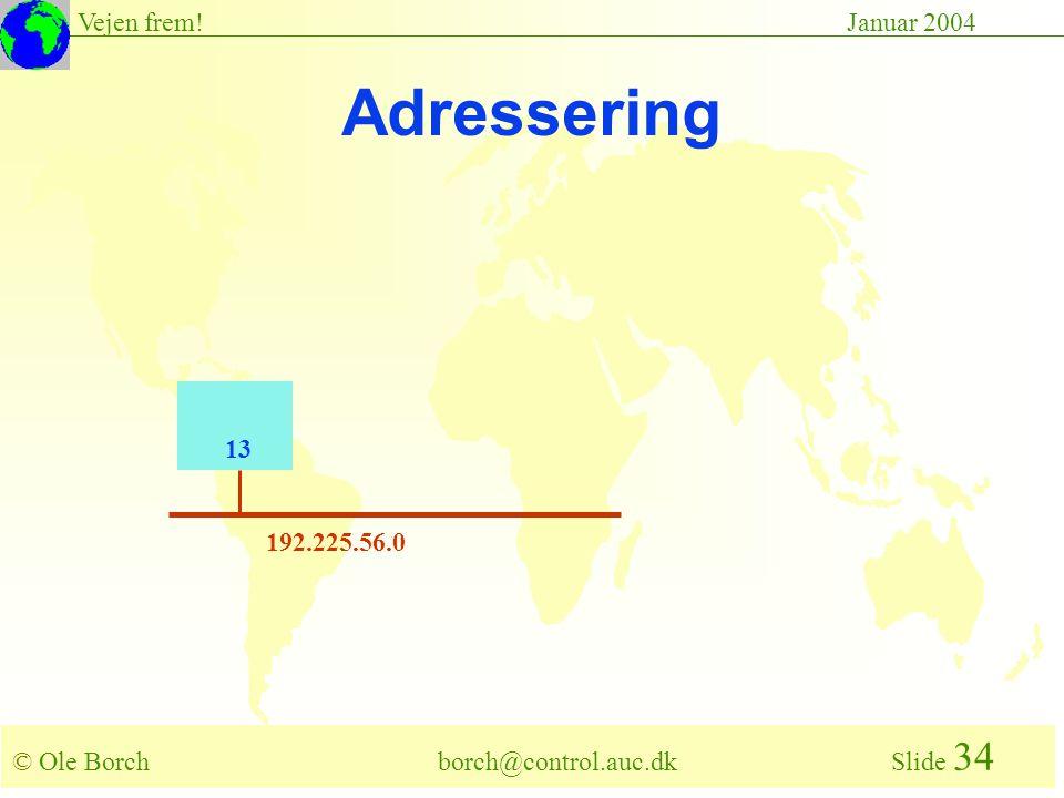 © Ole Borch borch@control.auc.dk Slide 34 Vejen frem!Januar 2004 192.225.56.0 13 Adressering
