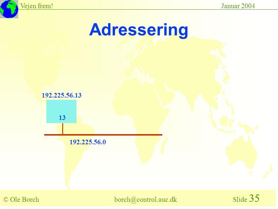 © Ole Borch borch@control.auc.dk Slide 35 Vejen frem!Januar 2004 192.225.56.0 13 192.225.56.13 Adressering