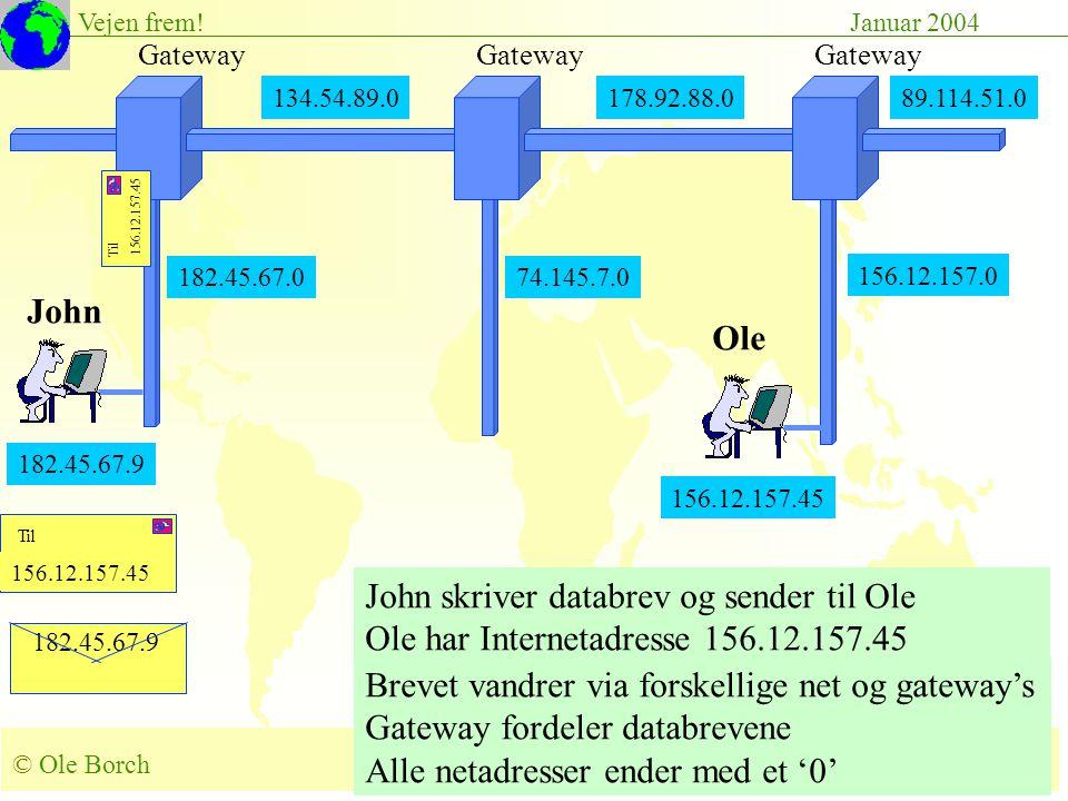© Ole Borch borch@control.auc.dk Slide 46 Vejen frem!Januar 2004 182.45.67.9 156.12.157.45 John skriver databrev og sender til Ole Ole har Internetadresse 156.12.157.45 Brevet vandrer via forskellige net og gateway's Gateway fordeler databrevene Alle netadresser ender med et '0' 134.54.89.0178.92.88.0 Gateway 182.45.67.0 Gateway 89.114.51.0 156.12.157.0 182.45.67.9 John Ole 156.12.157.45 74.145.7.0 156.12.157.45 Til 156.12.157.45 Til