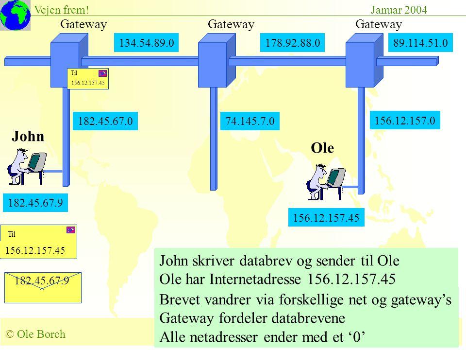 © Ole Borch borch@control.auc.dk Slide 47 Vejen frem!Januar 2004 182.45.67.9 156.12.157.45 John skriver databrev og sender til Ole Ole har Internetadresse 156.12.157.45 Brevet vandrer via forskellige net og gateway's Gateway fordeler databrevene Alle netadresser ender med et '0' 134.54.89.0178.92.88.0 Gateway 182.45.67.0 Gateway 89.114.51.0 156.12.157.0 182.45.67.9 John Ole 156.12.157.45 74.145.7.0 156.12.157.45 Til 156.12.157.45 Til