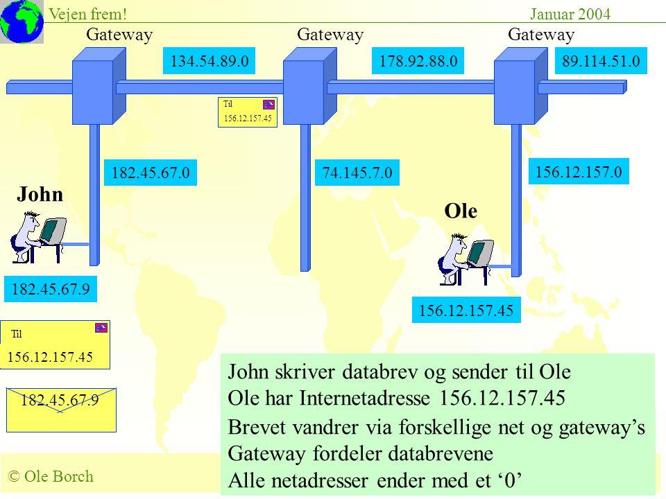 © Ole Borch borch@control.auc.dk Slide 49 Vejen frem!Januar 2004 182.45.67.9 156.12.157.45 John skriver databrev og sender til Ole Ole har Internetadresse 156.12.157.45 Brevet vandrer via forskellige net og gateway's Gateway fordeler databrevene Alle netadresser ender med et '0' 134.54.89.0178.92.88.0 Gateway 182.45.67.0 Gateway 89.114.51.0 156.12.157.0 182.45.67.9 John Ole 156.12.157.45 74.145.7.0 156.12.157.45 Til 156.12.157.45 Til