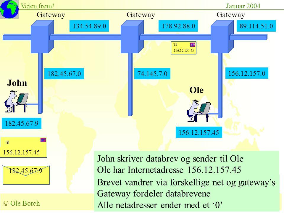 © Ole Borch borch@control.auc.dk Slide 52 Vejen frem!Januar 2004 182.45.67.9 156.12.157.45 John skriver databrev og sender til Ole Ole har Internetadresse 156.12.157.45 Brevet vandrer via forskellige net og gateway's Gateway fordeler databrevene Alle netadresser ender med et '0' 134.54.89.0178.92.88.0 Gateway 182.45.67.0 Gateway 89.114.51.0 156.12.157.0 182.45.67.9 John Ole 156.12.157.45 74.145.7.0 156.12.157.45 Til 156.12.157.45 Til