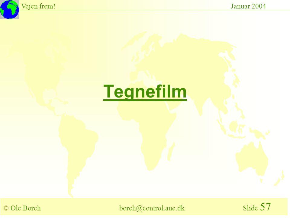 © Ole Borch borch@control.auc.dk Slide 57 Vejen frem!Januar 2004 Tegnefilm