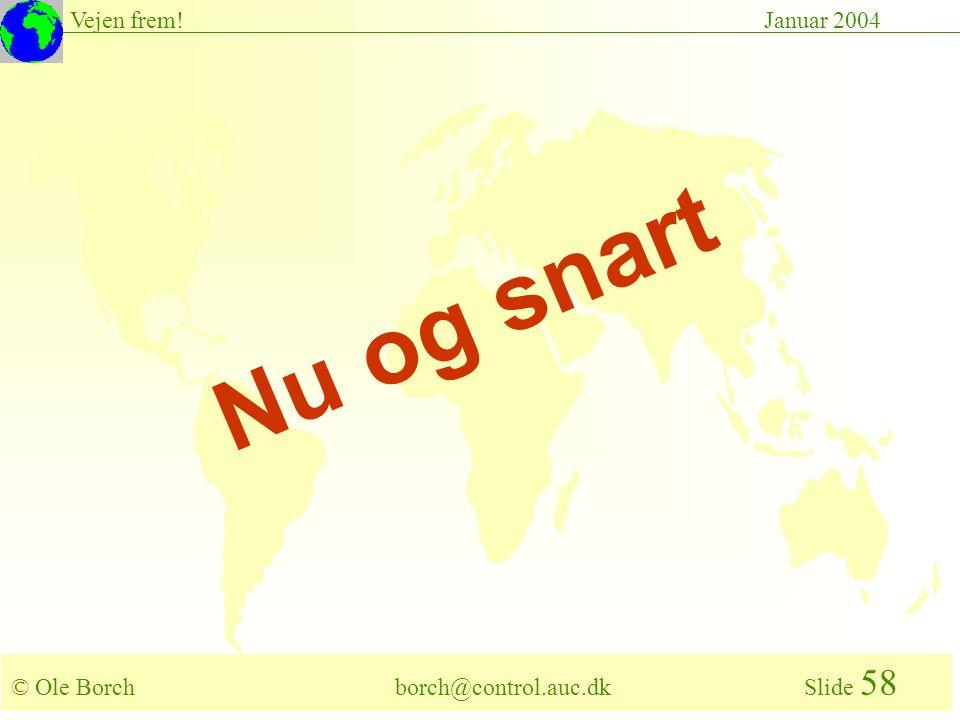 © Ole Borch borch@control.auc.dk Slide 58 Vejen frem!Januar 2004 Nu og snart