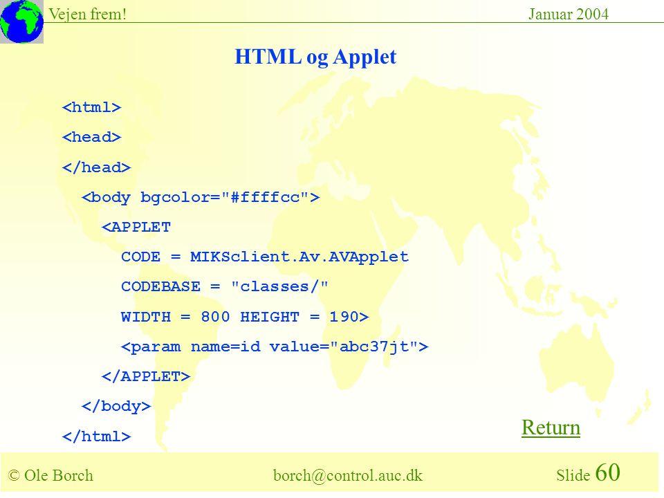 © Ole Borch borch@control.auc.dk Slide 60 Vejen frem!Januar 2004 <APPLET CODE = MIKSclient.Av.AVApplet CODEBASE = classes/ WIDTH = 800 HEIGHT = 190> HTML og Applet Return