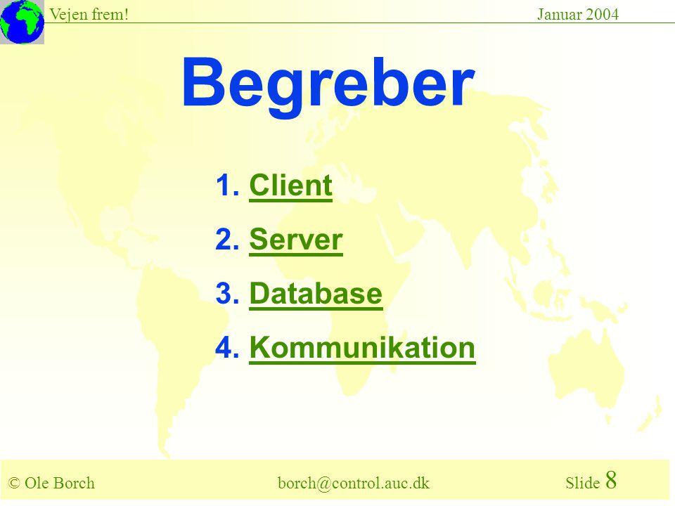 © Ole Borch borch@control.auc.dk Slide 8 Vejen frem!Januar 2004 Begreber 1.ClientClient 2.ServerServer 3.DatabaseDatabase 4.KommunikationKommunikation
