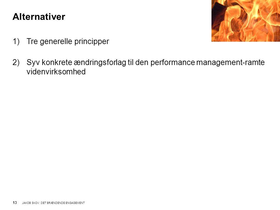Alternativer 13 JAKOB SKOV: DET BRÆNDENDE ENGAGEMENT 1)Tre generelle principper 2)Syv konkrete ændringsforlag til den performance management-ramte videnvirksomhed