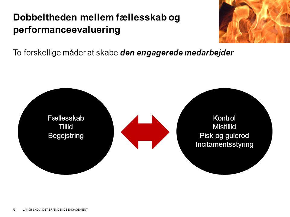 Dobbeltheden mellem fællesskab og performanceevaluering 6 JAKOB SKOV: DET BRÆNDENDE ENGAGEMENT To forskellige måder at skabe den engagerede medarbejder Kontrol Mistillid Pisk og gulerod Incitamentsstyring Fællesskab Tillid Begejstring
