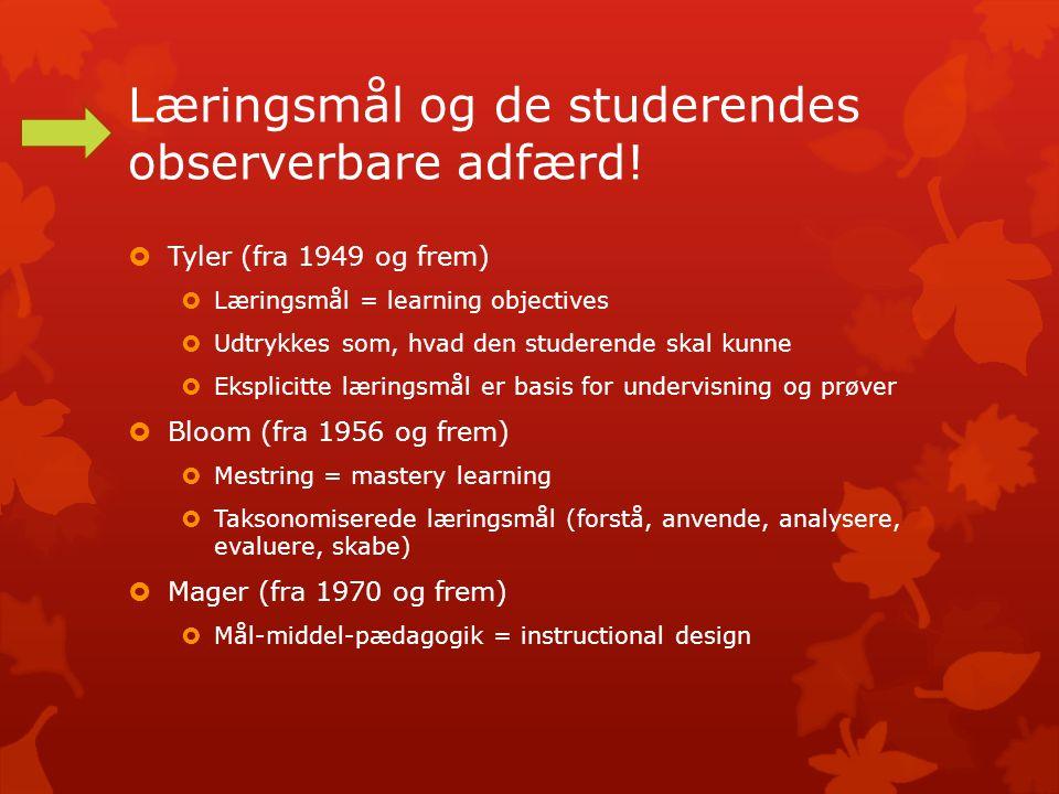 Læringsmål og de studerendes observerbare adfærd.
