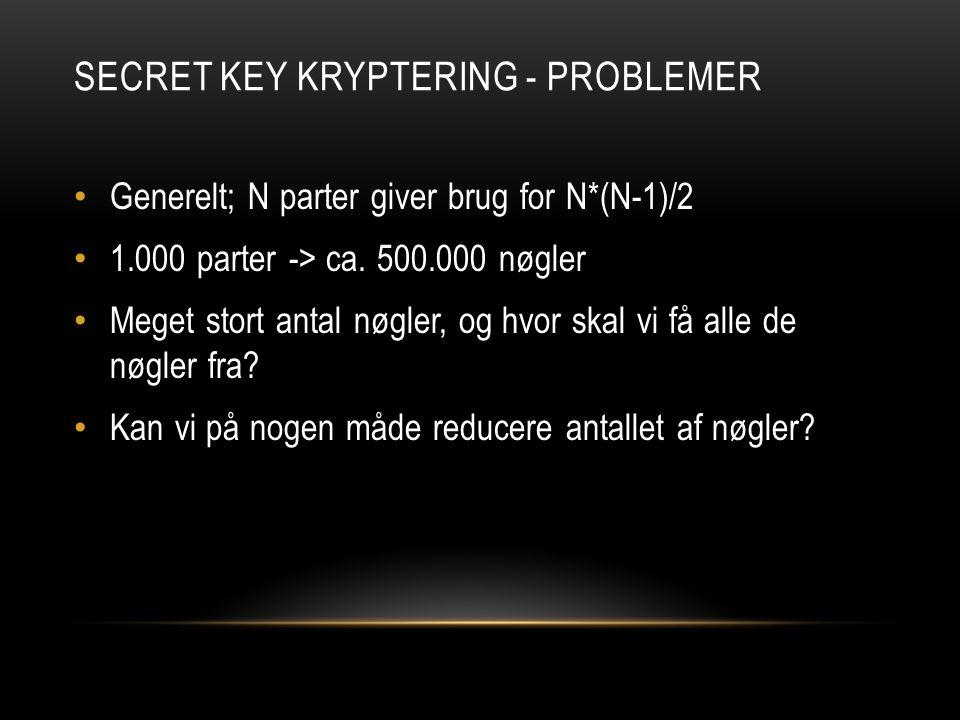 SECRET KEY KRYPTERING - PROBLEMER Generelt; N parter giver brug for N*(N-1)/2 1.000 parter -> ca.