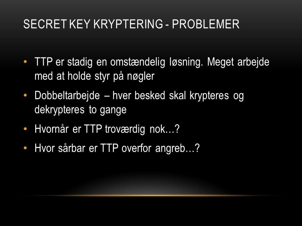 SECRET KEY KRYPTERING - PROBLEMER TTP er stadig en omstændelig løsning.