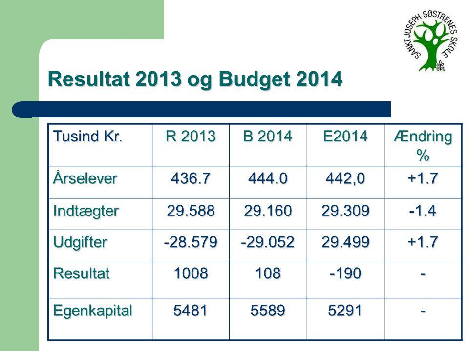 Resultat 2013 og Budget 2014 Tusind Kr.