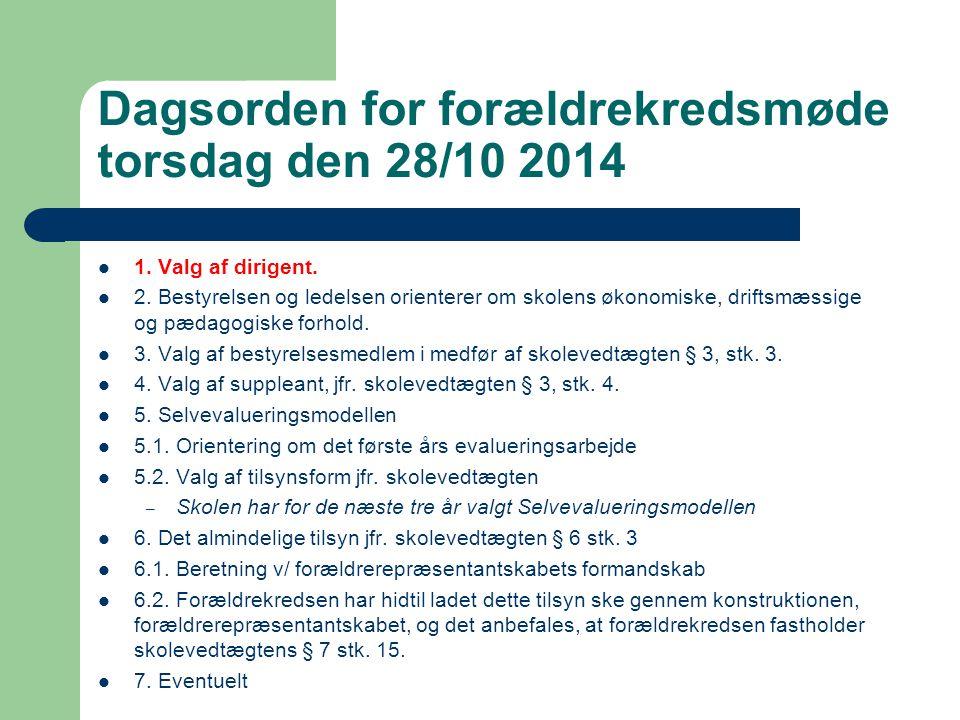 Dagsorden for forældrekredsmøde torsdag den 28/10 2014 1.