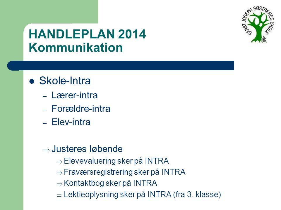 HANDLEPLAN 2014 Kommunikation Skole-Intra – Lærer-intra – Forældre-intra – Elev-intra  Justeres løbende  Elevevaluering sker på INTRA  Fraværsregistrering sker på INTRA  Kontaktbog sker på INTRA  Lektieoplysning sker på INTRA (fra 3.