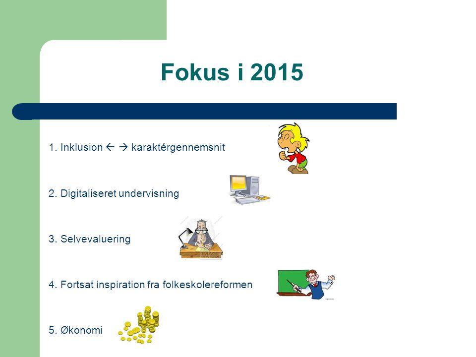 Fokus i 2015 1. Inklusion   karaktérgennemsnit 2.