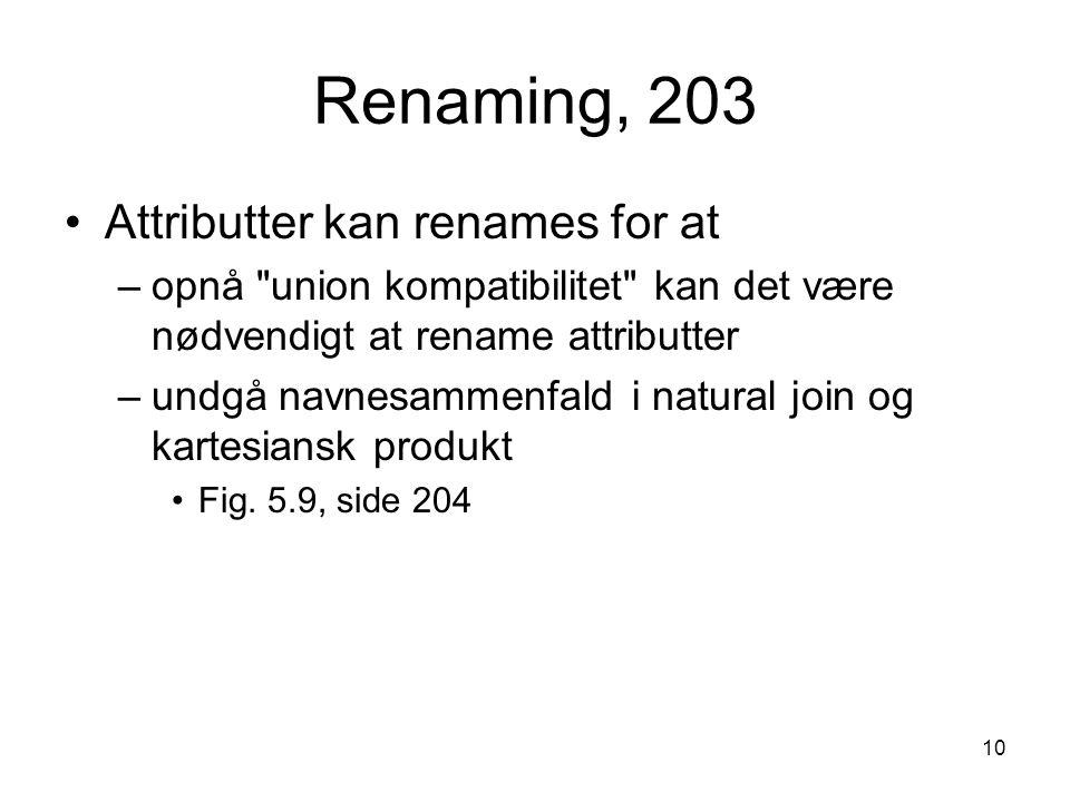 10 Renaming, 203 Attributter kan renames for at –opnå