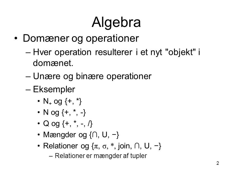 2 Algebra Domæner og operationer –Hver operation resulterer i et nyt