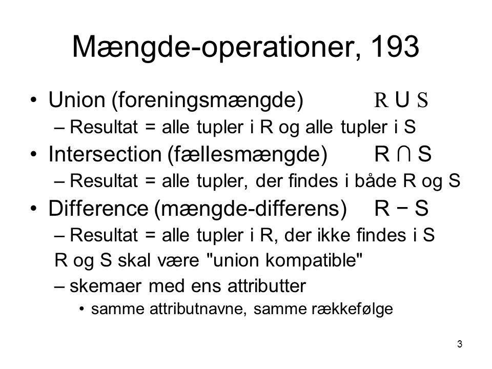 3 Mængde-operationer, 193 Union (foreningsmængde) R U S –Resultat = alle tupler i R og alle tupler i S Intersection (fællesmængde)R ∩ S –Resultat = al