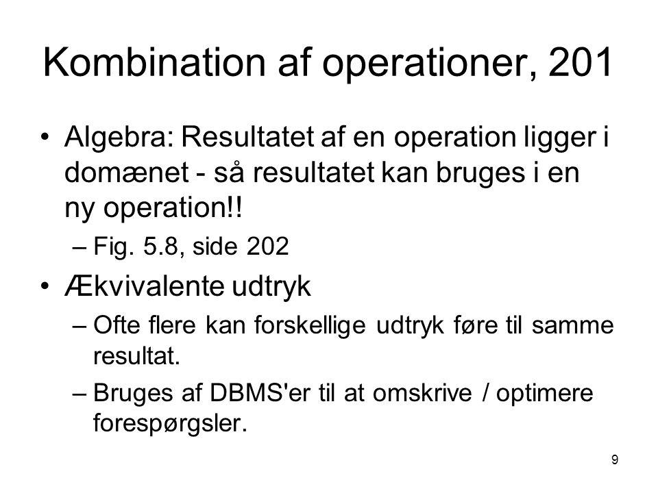 9 Kombination af operationer, 201 Algebra: Resultatet af en operation ligger i domænet - så resultatet kan bruges i en ny operation!! –Fig. 5.8, side
