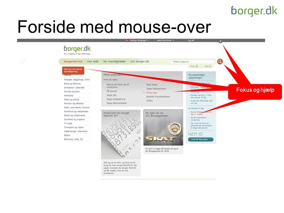Forside med mouse-over Fokus og hjælp