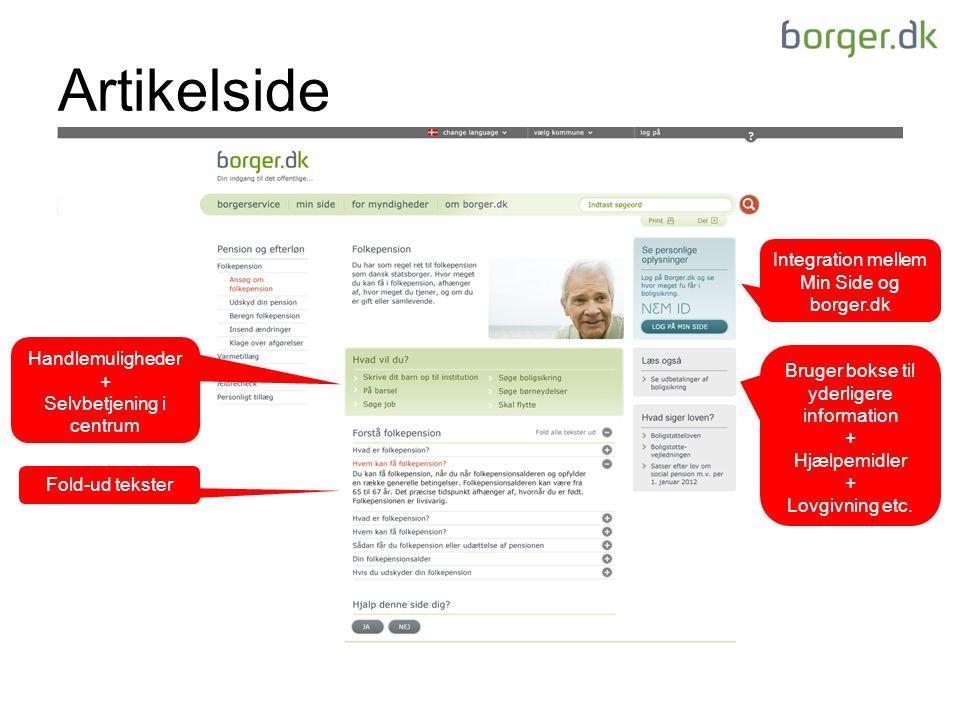 Artikelside Fold-ud tekster Bruger bokse til yderligere information + Hjælpemidler + Lovgivning etc.