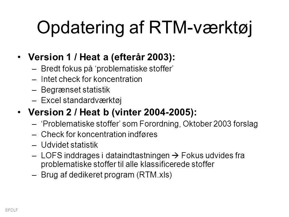 ©FDLF Opdatering af RTM-værktøj Version 1 / Heat a (efterår 2003): –Bredt fokus på 'problematiske stoffer' –Intet check for koncentration –Begrænset statistik –Excel standardværktøj Version 2 / Heat b (vinter 2004-2005): –'Problematiske stoffer' som Forordning, Oktober 2003 forslag –Check for koncentration indføres –Udvidet statistik –LOFS inddrages i dataindtastningen  Fokus udvides fra problematiske stoffer til alle klassificerede stoffer –Brug af dedikeret program (RTM.xls)