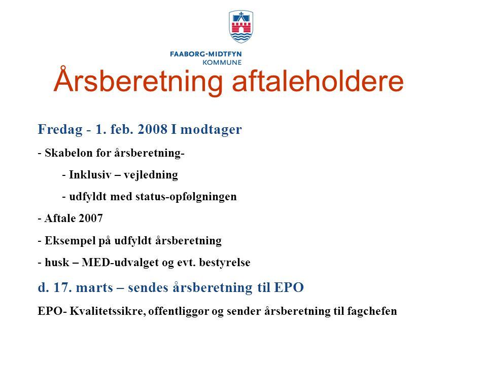 Årsberetning aftaleholdere Fredag - 1. feb.
