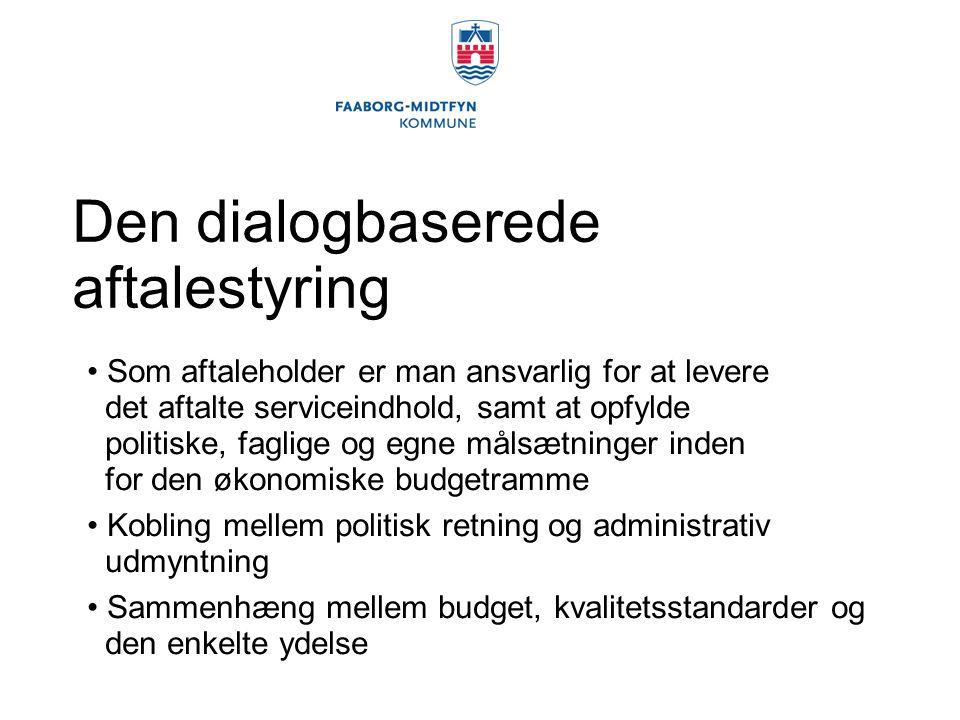 Den dialogbaserede aftalestyring Som aftaleholder er man ansvarlig for at levere det aftalte serviceindhold, samt at opfylde politiske, faglige og egne målsætninger inden for den økonomiske budgetramme Kobling mellem politisk retning og administrativ udmyntning Sammenhæng mellem budget, kvalitetsstandarder og den enkelte ydelse