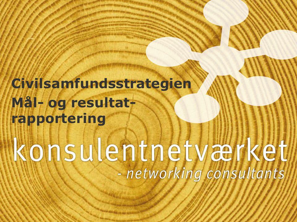 Civilsamfundsstrategien Mål- og resultat- rapportering Civilsamfundsstrategien Mål- og resultat- rapportering