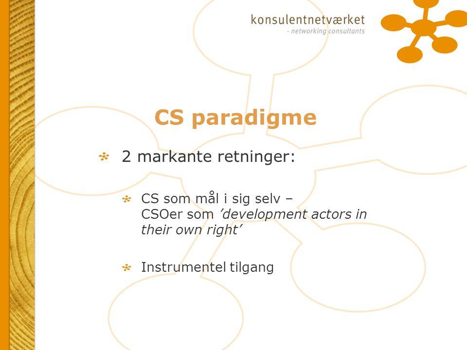 CS paradigme 2 markante retninger: CS som mål i sig selv – CSOer som 'development actors in their own right' Instrumentel tilgang 2 markante retninger: CS som mål i sig selv – CSOer som 'development actors in their own right' Instrumentel tilgang