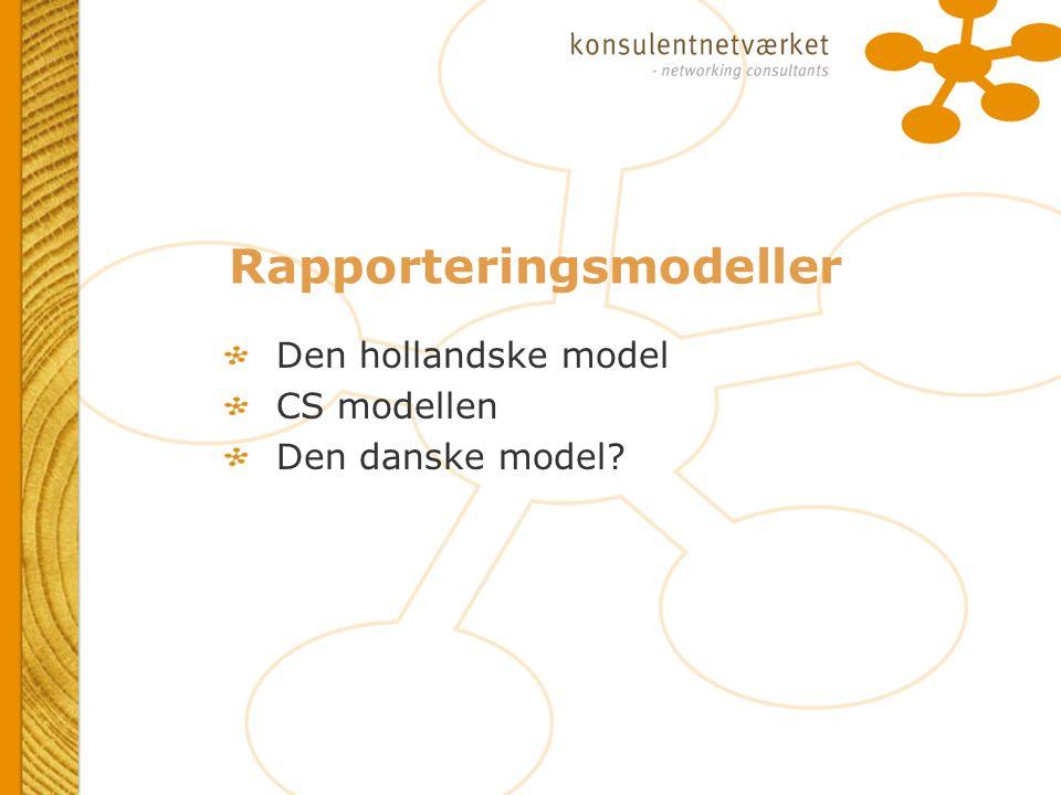 Rapporteringsmodeller Den hollandske model CS modellen Den danske model.
