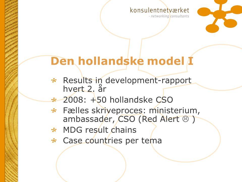 Den hollandske model I Results in development-rapport hvert 2.