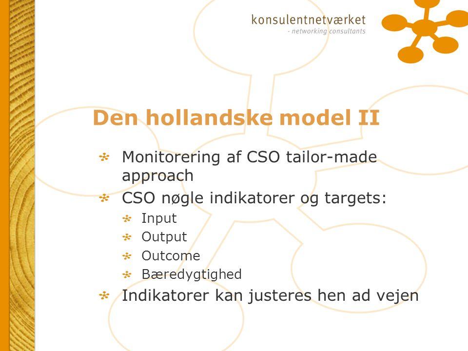 Den hollandske model II Monitorering af CSO tailor-made approach CSO nøgle indikatorer og targets: Input Output Outcome Bæredygtighed Indikatorer kan justeres hen ad vejen Monitorering af CSO tailor-made approach CSO nøgle indikatorer og targets: Input Output Outcome Bæredygtighed Indikatorer kan justeres hen ad vejen