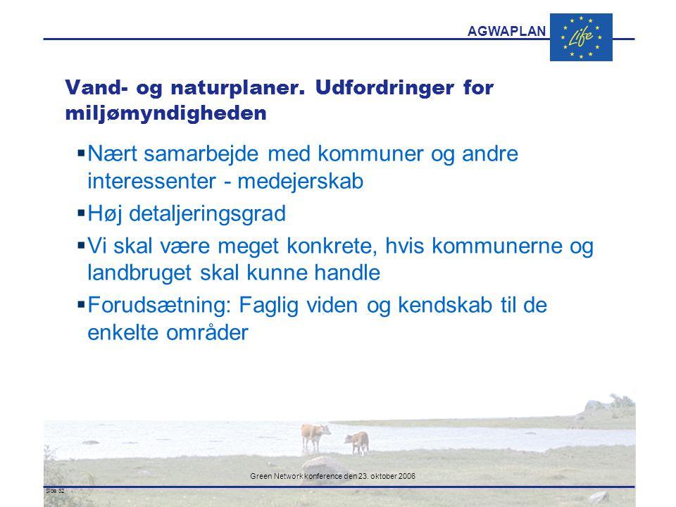 AGWAPLAN Green Network konference den 23. oktober 2006 Side 32 · · Vand- og naturplaner.