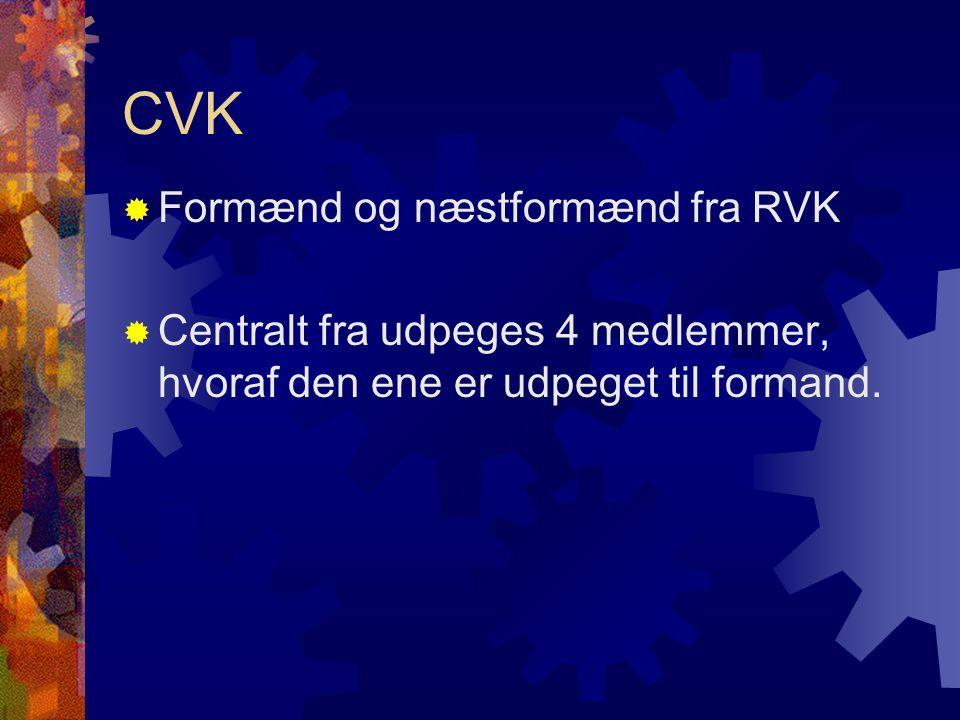 CVK  Formænd og næstformænd fra RVK  Centralt fra udpeges 4 medlemmer, hvoraf den ene er udpeget til formand.