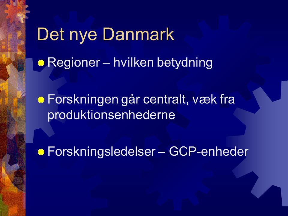 Det nye Danmark  Regioner – hvilken betydning  Forskningen går centralt, væk fra produktionsenhederne  Forskningsledelser – GCP-enheder