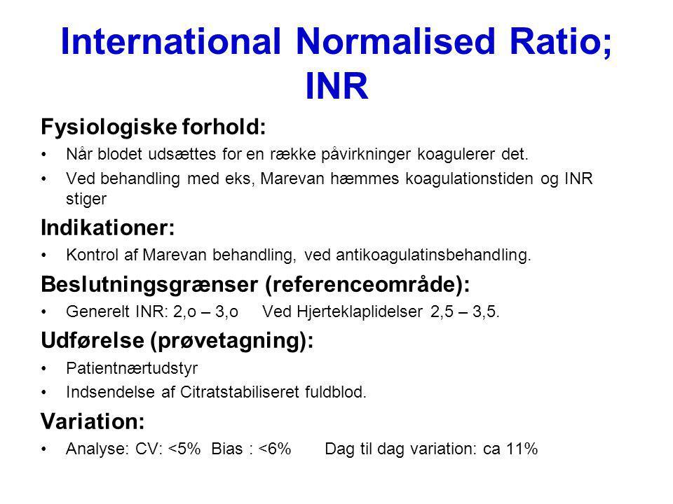 International Normalised Ratio; INR Fysiologiske forhold: Når blodet udsættes for en række påvirkninger koagulerer det. Ved behandling med eks, Mareva