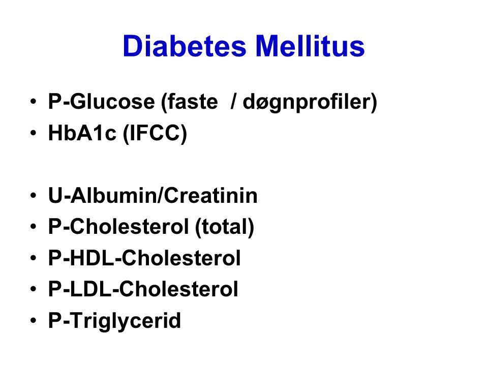 Diabetes Mellitus P-Glucose (faste / døgnprofiler) HbA1c (IFCC) U-Albumin/Creatinin P-Cholesterol (total) P-HDL-Cholesterol P-LDL-Cholesterol P-Trigly
