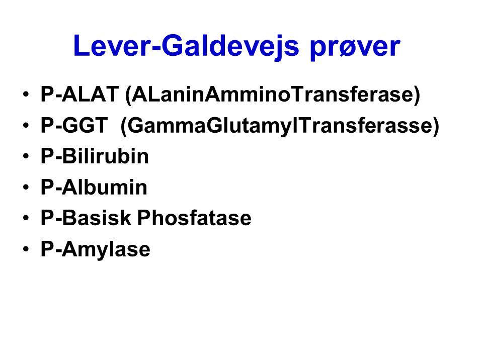 Lever-Galdevejs prøver P-ALAT (ALaninAmminoTransferase) P-GGT (GammaGlutamylTransferasse) P-Bilirubin P-Albumin P-Basisk Phosfatase P-Amylase