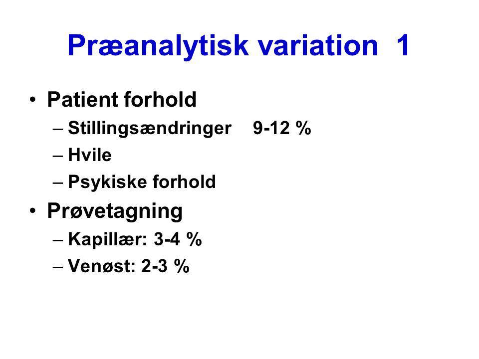 Præanalytisk variation 1 Patient forhold –Stillingsændringer 9-12 % –Hvile –Psykiske forhold Prøvetagning –Kapillær: 3-4 % –Venøst: 2-3 %