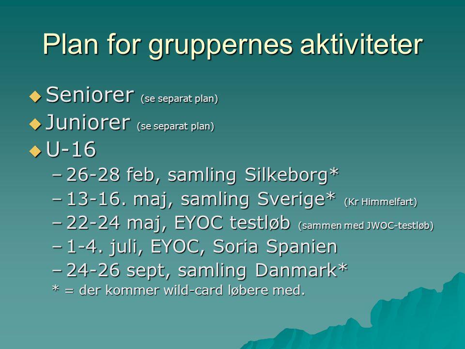 Plan for gruppernes aktiviteter  Seniorer (se separat plan)  Juniorer (se separat plan)  U-16 –26-28 feb, samling Silkeborg* –13-16.