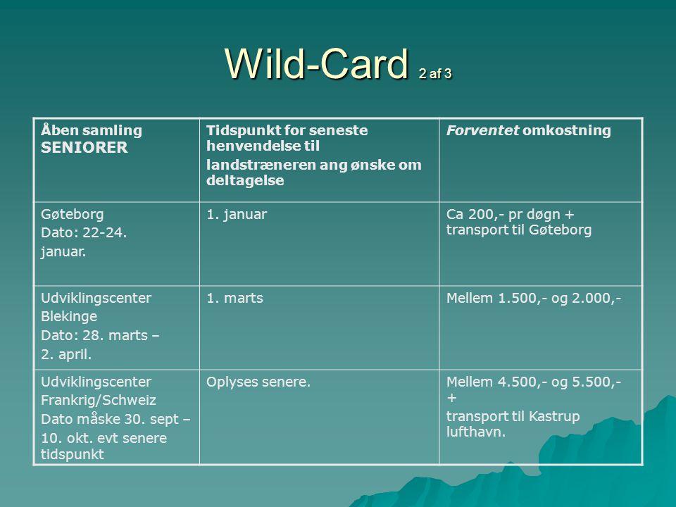 Wild-Card 2 af 3 Åben samling SENIORER Tidspunkt for seneste henvendelse til landstræneren ang ønske om deltagelse Forventet omkostning Gøteborg Dato: 22-24.