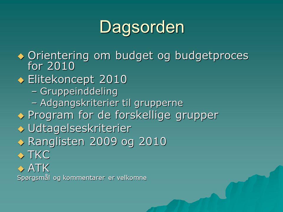 Dagsorden  Orientering om budget og budgetproces for 2010  Elitekoncept 2010 –Gruppeinddeling –Adgangskriterier til grupperne  Program for de forskellige grupper  Udtagelseskriterier  Ranglisten 2009 og 2010  TKC  ATK Spørgsmål og kommentarer er velkomne