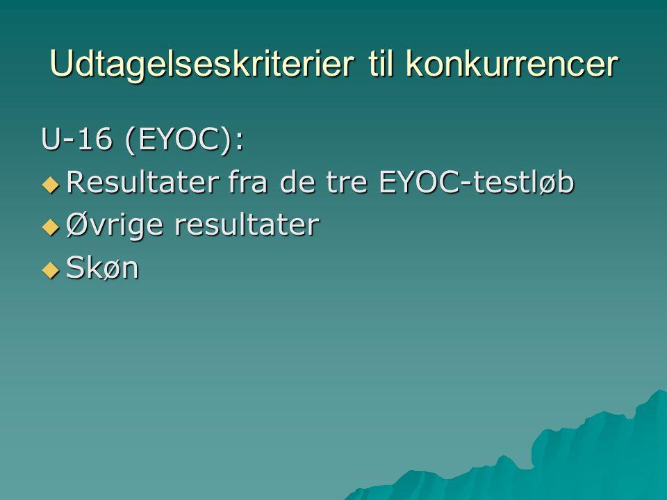 Udtagelseskriterier til konkurrencer U-16 (EYOC):  Resultater fra de tre EYOC-testløb  Øvrige resultater  Skøn